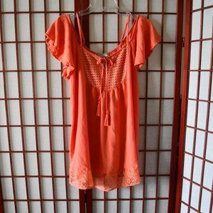Flying Tomato Coral Cold Shoulder Tunic